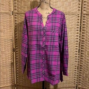 Roaman's Plaid Flannel High-Low Tunic Size 20W NWT